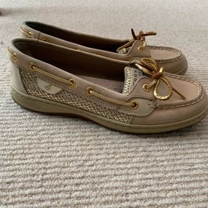 Gold sequined sperry's